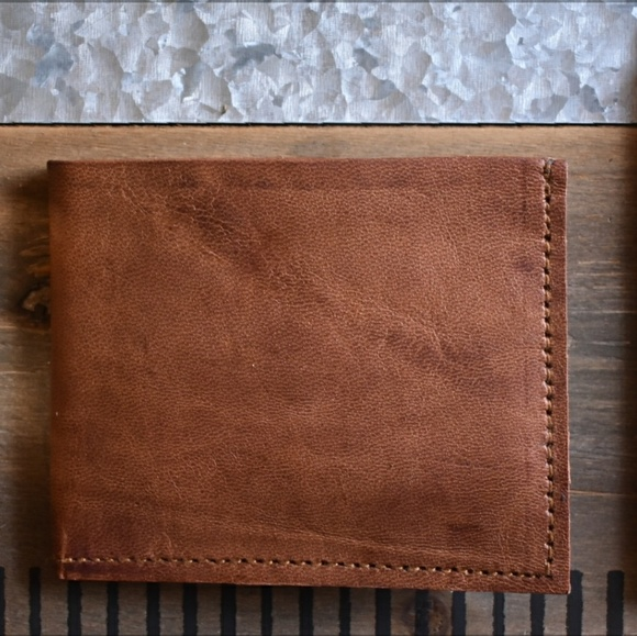 710f6ca8d8e1 Leather Bifold Wallet. Rugged Mens Leather Wallet